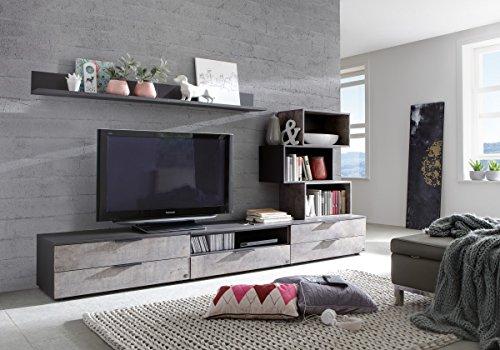 Dreams4Home Wohnwand 'Mats' - 2x Wandboard, 3x TV-Unterschrank, 2x Regal, B/H/T:ca. 328 x 37 x 45 cm, Wohnzimmer, Jugendzimmer, Gästezimmer, in Lavafarbig + Beton farbige Absätze