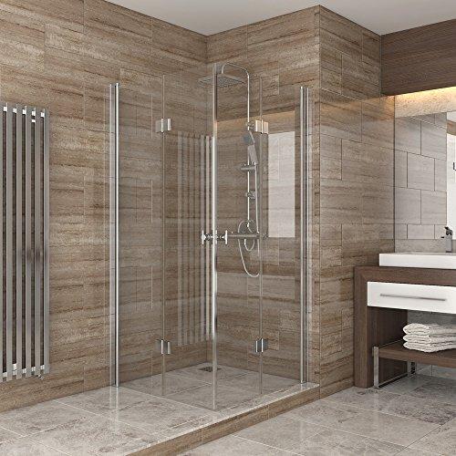 dusche duschkabine faltt r echtglas duschabtrennung eckeinstieg duschwanne 80x80 m bel24. Black Bedroom Furniture Sets. Home Design Ideas