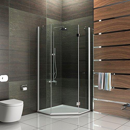 duschkabine dusche duschabtrennung f nfeck 100x100x195 duskabine mit antikalk easy clean glas. Black Bedroom Furniture Sets. Home Design Ideas
