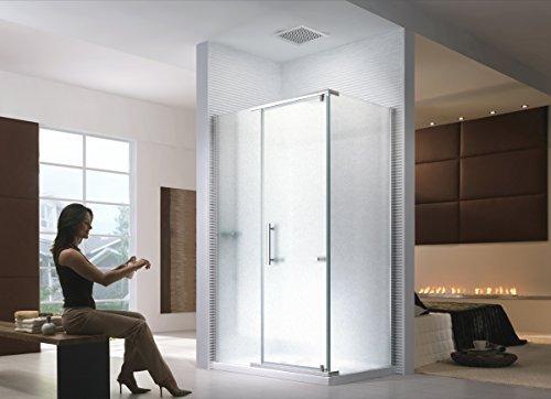 Duschkabine Dusche Duschabtrennung Hephaistos Milchglas (Satiniert) 100x90x200cm - 8mm - mit Duschtasse + Siphon