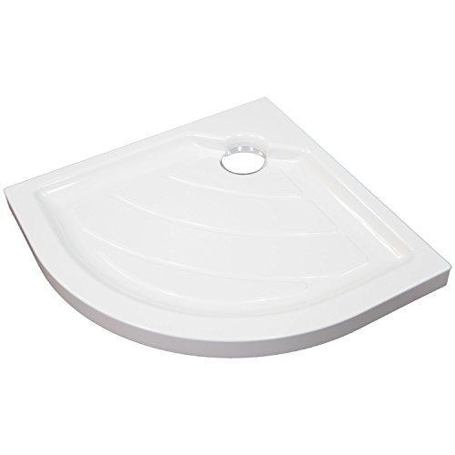 Duschtasse 80x80 SONDERPOSTEN - EXTRA flache Bauweise 60mm - Duschwanne Viertelkreis robustes Sanitäracryl Weiß