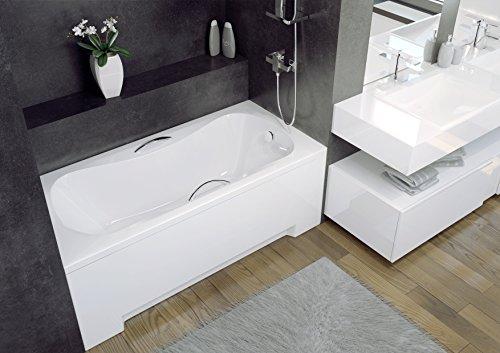 EXCLUSIVE LINE Badewanne Wanne Rechteck Premium 140x70 cm mit Schürze Ablaufgarnitur Viega Simplex im SET