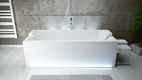EXCLUSIVE LINE® Rechteck Acryl Badewanne QUADRO 180x80 mit Ablauf Viega Simplex Schürze und 2x Kopfstütze