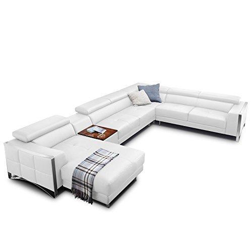 echt leder wohnlandschaft elsa sofa in u form mit edelstahlrahmen wei teilleder. Black Bedroom Furniture Sets. Home Design Ideas