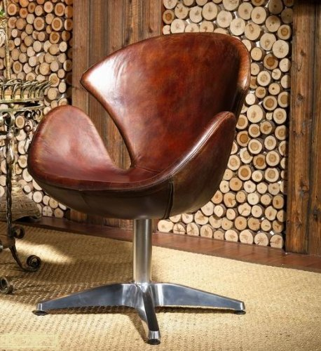 m bel24 echtleder egg chair leder sessel vintage. Black Bedroom Furniture Sets. Home Design Ideas