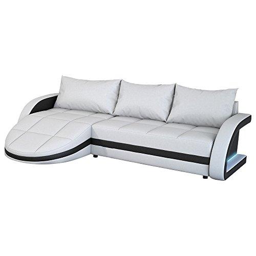 M bel24 m bel g nstig eck sofa wei schwarz in leder for Wohnlandschaft mit ottomane und recamiere