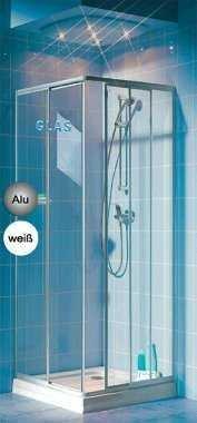 eckeinstieg duschkabine echtglas sicherheitsglas silberne profile links 68 bis 83 und rechts 73. Black Bedroom Furniture Sets. Home Design Ideas