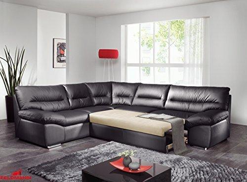 ecksofa 60569 polsterecke echt leder dickleder schwarz mit schlaffunktion ausrichtung whlbar. Black Bedroom Furniture Sets. Home Design Ideas