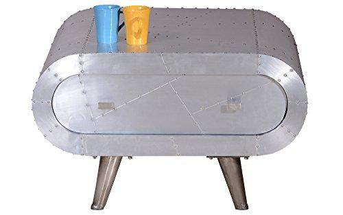 Excl. Baidani Designer Couchtisch METAL 80 x 80 cm Aluminium-Beschlag Handarbeit