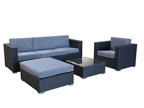 m bel24 m bel g nstig exclusive loungegruppe 4 teilig aluminium polyrattan schwarz mit. Black Bedroom Furniture Sets. Home Design Ideas