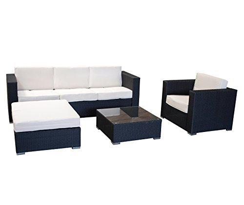 exclusive loungegruppe livorno 4 teilig aluminium polyrattan dunkelgrau mit polstern creme 0. Black Bedroom Furniture Sets. Home Design Ideas
