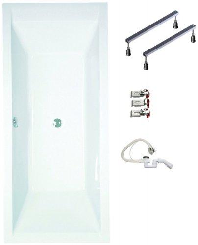 Galdem Badewannen Set GABWSET120RF, 180 x 80 cm, hochwertiges Wannen komplett SET bestehend aus einer Rechteck Acryl Design Badewanne, Wannen Fußgestell sowie Übe