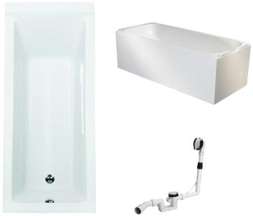 Galdem Badewannen Set GABWSET122WT, 170 x 75 cm, hochwertiges Wannen komplett SET bestehend aus einer Rechteck Acryl Design Badewanne, Wannenträger aus Styropor so