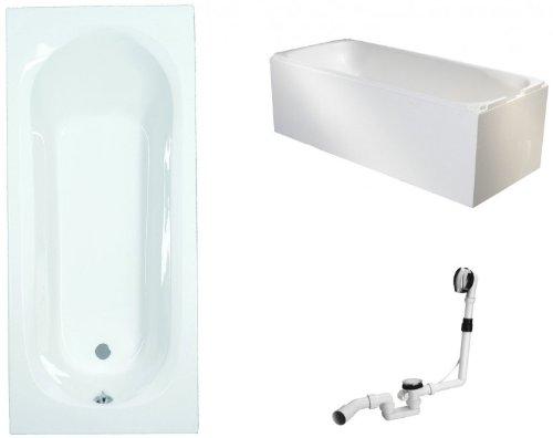 Galdem Badewannen Set GABWSET125ET, 170 x 75 cm, hochwertiges Wannen komplett SET bestehend aus einer rechteck Acryl Design Badewanne, Wannenträger aus Styropor so
