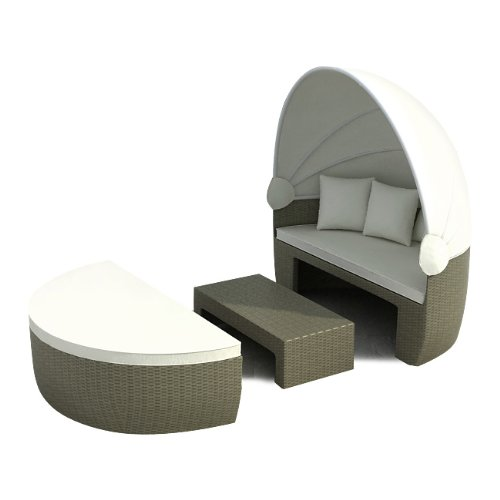 garteninsel bozen grau beige sonnenliege insel liege rattan polyrattan mit aluminiumgestell. Black Bedroom Furniture Sets. Home Design Ideas