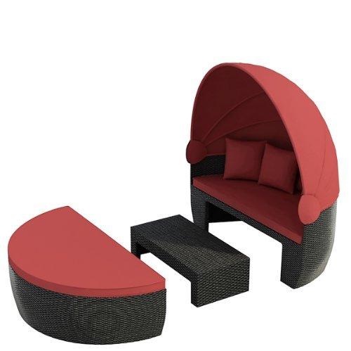 jet line garteninsel bozen schwarz rot sonnenliege liege aus aluminium insel rattan polyrattan. Black Bedroom Furniture Sets. Home Design Ideas
