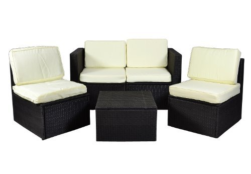 nexos gartenm bel 5tlg set sitzgruppe poly rattan lounge garten garnitur couch creme m bel24 shop. Black Bedroom Furniture Sets. Home Design Ideas