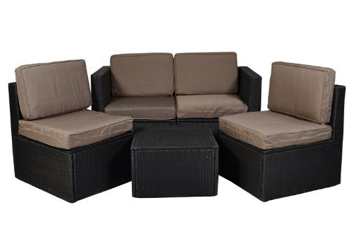 nexos gartenm bel 5tlg set sitzgruppe poly rattan lounge. Black Bedroom Furniture Sets. Home Design Ideas