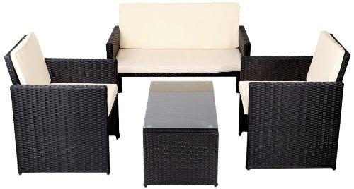 MA-Trading Polyrattan Outdoor Lounge Set Sitzgruppe Gartenmöbel Lounge Gartenset Garnitur Stühle Bank Glastisch - Premium schwarz