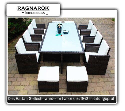 gartenm bel polyrattan essgruppe tisch mit 8 st hlen 4. Black Bedroom Furniture Sets. Home Design Ideas