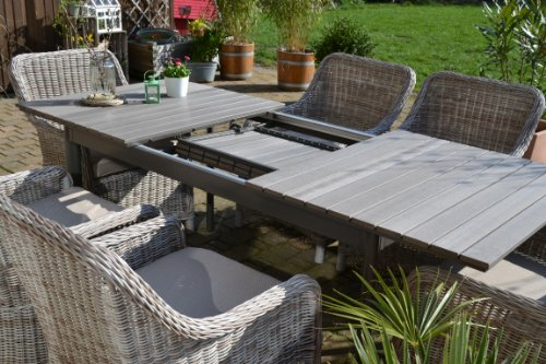 gartenm bel set como 6 tisch ausziehbar holzdekor mit 6 sessel rattan polyrattan geflecht m bel24. Black Bedroom Furniture Sets. Home Design Ideas