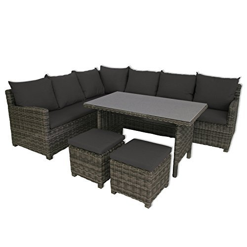 greemotion rattan lounge set miami 6tlg design loungeset f r 7 aus polyrattan f r balkon. Black Bedroom Furniture Sets. Home Design Ideas