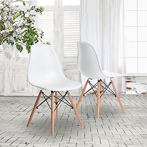 GreenForest Charles Eames Style Stuhl DSW Eiffel,Set of 2 (Weiß)