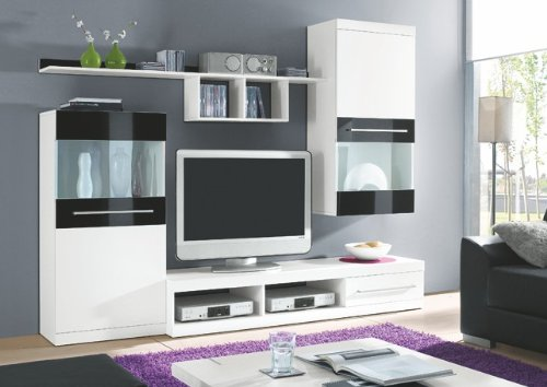 hbz wohnwand abano wei schwarz hochglanz m bel24 shop. Black Bedroom Furniture Sets. Home Design Ideas