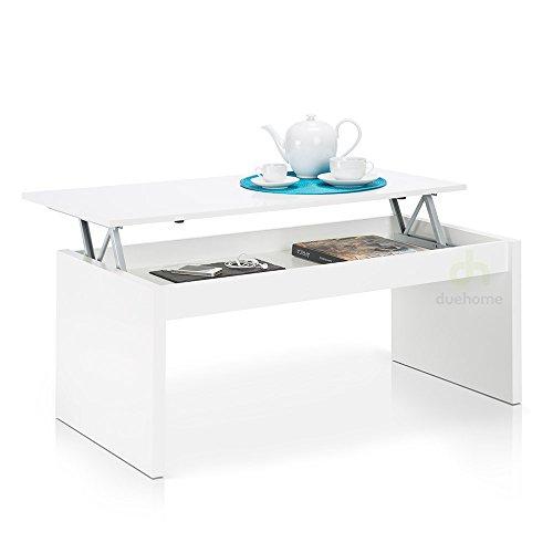 Home Fashion due-home Couchtisch weiß glänzend mit Tablett Klappsitz