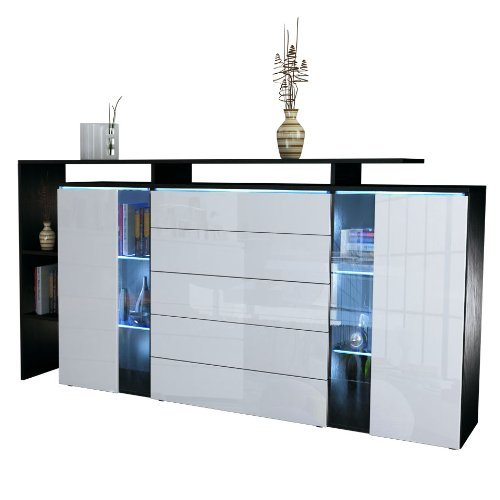 highboard sideboard lissabon in schwarz matt wei. Black Bedroom Furniture Sets. Home Design Ideas