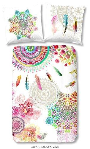 HIP 4947-H, 135cm Palaya bettwäsche, Weiß mit Farbigen Figuren und Blumen, 100 Prozent Baumwolle/Satin, Mehrfarbig, 200 x 135 x 0,5 cm