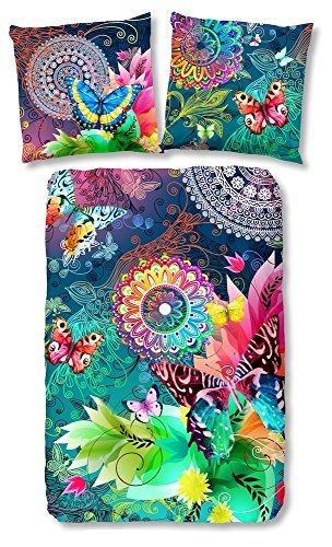 HIP 5104-H, 135cm Parada bettwäsche, Grau mit Farbigen Figuren und Schmetterlinge, 100 Prozent Baumwolle/Satin, Mehrfarbig, 200 x 135 x 0,5 cm