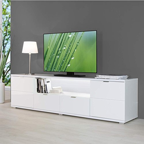 hochglanz tv board inkl led beleuchtung in wei 180x50x40cm mit beleuchteter r ckwand m bel24. Black Bedroom Furniture Sets. Home Design Ideas