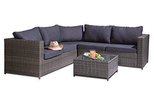hochwertige polyrattan lounge 3 tlg inkl kissen gestell. Black Bedroom Furniture Sets. Home Design Ideas