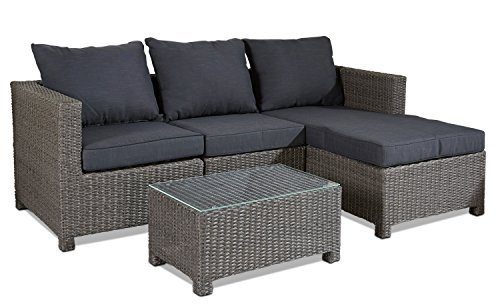 hochwertige polyrattan sitzgruppe grau inkl kissen stahl. Black Bedroom Furniture Sets. Home Design Ideas