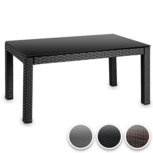 hochwertiger polyrattan tisch teetisch beistelltisch f r den garten mit glas farbwahl m bel24. Black Bedroom Furniture Sets. Home Design Ideas