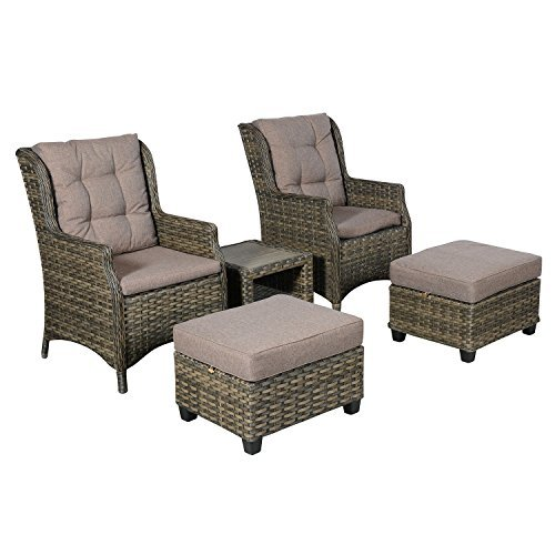 hochwertiges 5tlg poly rattan gartenm bel terrassenm bel loungem bel balkonm bel set sitzgruppe. Black Bedroom Furniture Sets. Home Design Ideas