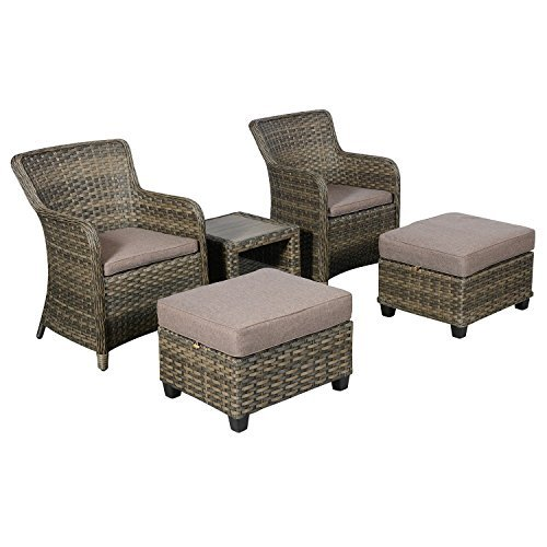 hochwertiges 5tlg poly rattan loungem bel gartenm bel terrassenm bel balkonm bel set sitzgruppe. Black Bedroom Furniture Sets. Home Design Ideas