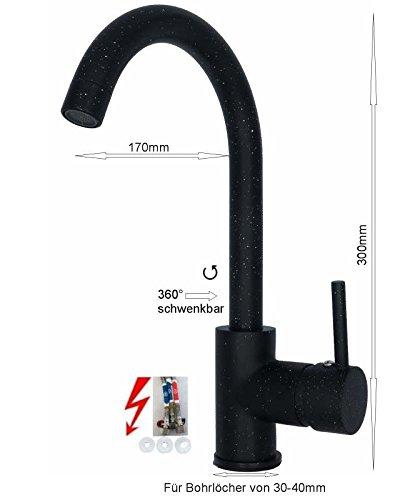 Küchenarmatur Niederdruck Spültischarmatur Mischbatterie Einhebelmischer Wasserhahn Küchen Armatur Waschbeckenarmatur schwenkbar Untertischgerät in Schwarz