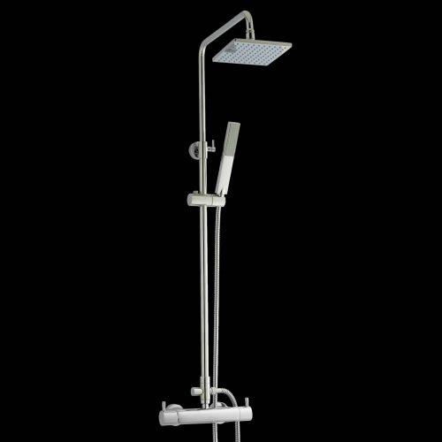 Hudson Reed Duschsäule Pro II - Thermostatisches Duschset aus verchromtem Messing - Inkl. Mischbatterie, Kopf- & Handbrause - Höhenverstellbar - Keramik-Kartuschen - Anti-Kalk System - Modernes Design