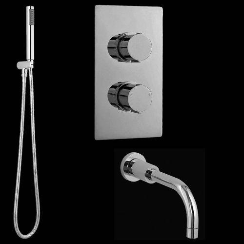 Hudson Reed Duschsystem - Handbrause & Thermostat Unterputz Duscharmatur - Verchromt