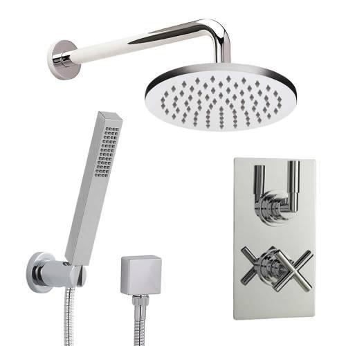 Hudson Reed Duschsystem - Kopfbrause, Handbrause & Thermostat Unterputz Duscharmatur - Verchromt - T