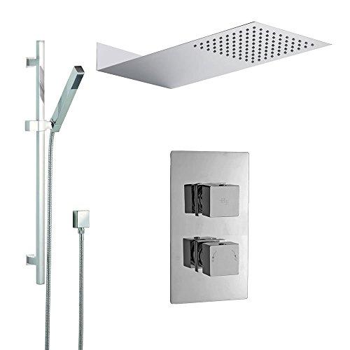 Hudson Reed Duschsystem Kubix - Thermostatische Unterputzarmatur inkl verchromter Duschstange mit Kopf- & Handbrause - Anti-Kalk System - Regendusche - Ideal für Walk-In Duschen - Modernes Design