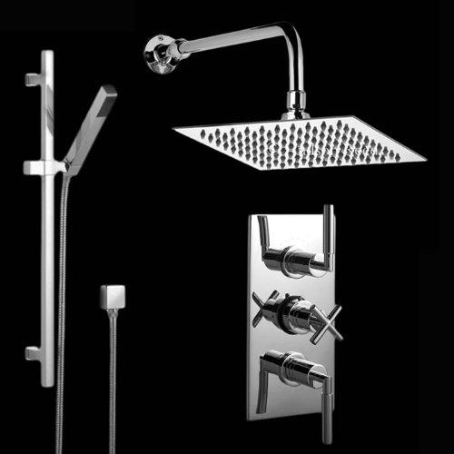 Hudson Reed Duschsystem Tec I - Thermostatische Unterputzarmatur inkl. verchromter Duschstange mit Kopf- & Handbrause - Anti-Kalk System - Regendusche - Ideal für Walk-In Duschen - Modernes Design