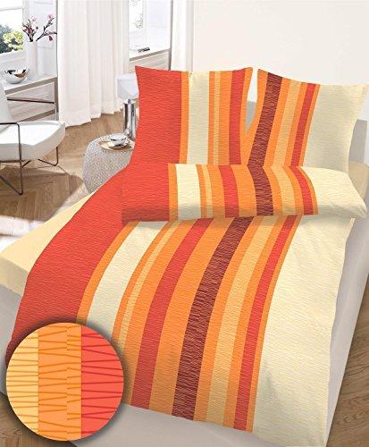 IDO-659082-Baumwoll-Seersucker-Bettwsche-im-orange-rot-natur-155x220-80x80-cm-0-0