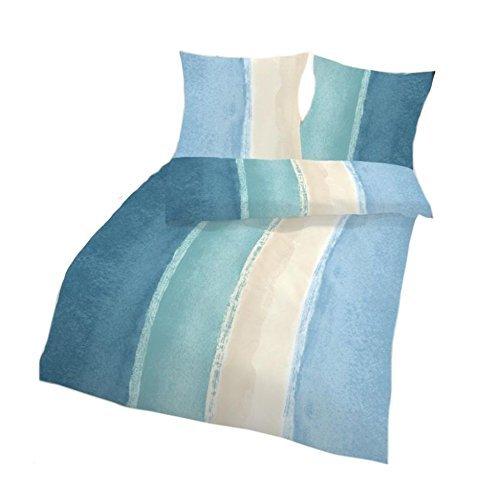 IDO Baumwoll-Seersucker Bettwäsche 2tlg. Mint Blau gestreift 17768-229 Bettwäsche Bettbezug 80x80 cm / 135x200 cm