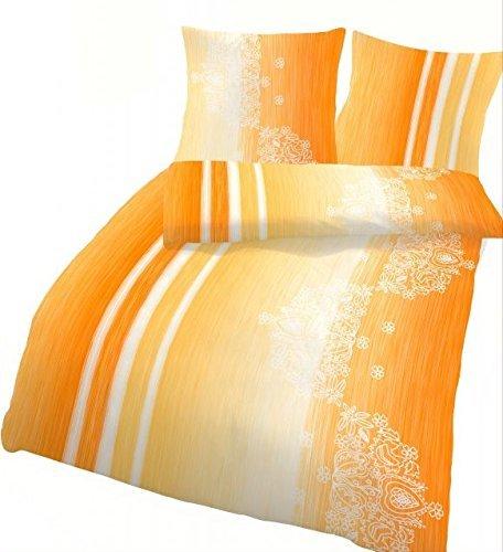 IDO Baumwoll-Seersucker Bettwäsche 2tlg. Sonnengelb Orange 47822-625 Bettwäsche Bettbezug 80x80 cm / 135x200 cm