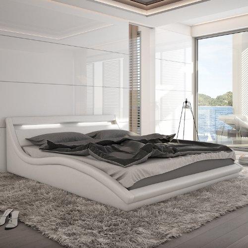 innocent polsterbett kunstleder wei mit led beleuchtung zuma 160x200 cm m bel24. Black Bedroom Furniture Sets. Home Design Ideas