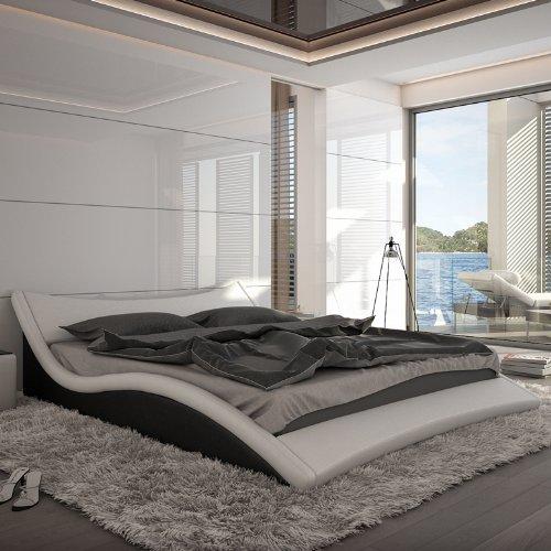 innocent polsterbett aus kunstleder nurai wei schwarz 160 x 200 cm m bel24 m bel g nstig. Black Bedroom Furniture Sets. Home Design Ideas