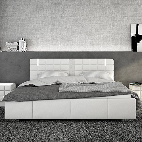 innocent polsterbett aus kunstleder wei 180x200cm mit led und lautsprecher century mit matratze. Black Bedroom Furniture Sets. Home Design Ideas
